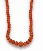 Vintage 14k Gold Graduated Beaded Coral Necklace