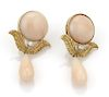 Diamond 18k Gold Angel Skin Coral Dangle Earrings