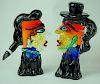 Picasso Style Murano Art Glass Man & Woman