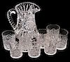 Cut Glass Pitcher and Tumblers
