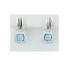 DAVID YURMAN Sterling Silver Blue Topaz and Diamond Drop Earrings