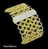 David Yurman Wide Quatrefoil 18k Gold Pave Bracelet