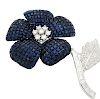 AMAZING 18k W Gold 3.5tcw Diamond & Sapphire Flower Pin