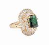 18k Yellow Gold 6.00 Ct Baguette Diamond Emerald Ring Size 7