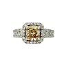 18k 1.60 TCW Natural Brown Yellow White Diamond Ring