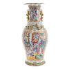 Large Chinese Export Rose Mandarin vase