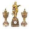 Napoleon III rouge marble/bronze clock garniture