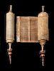Handwritten 18th C. Hebrew Torah Scroll - from Morocco