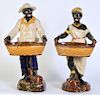 2 Large English Ceramic Blackamoor Figurines