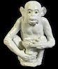 Meissen Style Ceramic Monkey W/ Green Glass Eyes