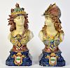 2 Italian Majolica Porcelain Figural Busts