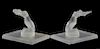 """Pr. of Lalique Crystal Bookends """"Chrisis"""""""