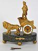 19 C. Gilt Bronze Lion & Chariot Clock/ Marble
