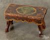 Painted cherry footstool, 19th c., etc.