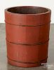 Red painted pine bucket, late 19th c.
