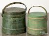 Two green painted firkins