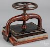 Painted cast iron book press, late 19th c.