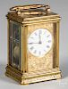 French engraved brass carriage clock, by Drocourt