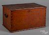 "Cherry lock box, 19th c., 11"" h., 20"" w."