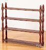 Red painted hanging shelf, 19th c.
