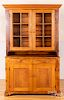 Pine and poplar two-part Dutch cupboard, 19th c.