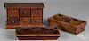 Two pine knife trays, 19th c., etc.
