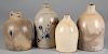 Four stoneware jugs, 19th c.