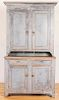 Painted pine two-part Dutch cupboard, 19th c.