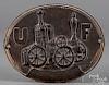 "Cast iron firemark, 19th c., 9"" x 11 1/2""."