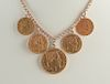 French & Belgian Gold Coin Necklace