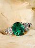 Platinum and 18K yellow gold emerald diamond ring