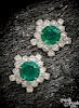 Pair of 18K gold Bulgari emerald diamond earrings