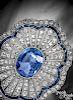 14K white gold sapphire and diamond pin