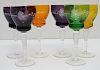 5 CONTEMPORARY COLORED WINE GLASSES