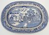 19th c. STAFFORDSHIRE BLUE WILLOW PLATTER
