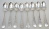 8 ANTIQUE STERLING ETCHED TEASPOONS