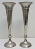 2 TALL SILVER PLATED TRUMPET VASES