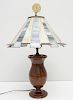 VINTAGE WOOD LAMP W STAINED GLASS