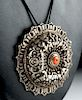 19th C. Tibetan Silver Pendant with Coral Bead - 34.7 g