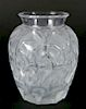 Lalique frosted and molded glass vase