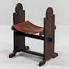 Arts and Crafts Leather Sling Bench