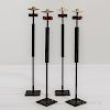 Four Tall Mid-century Modern Metal and Ebonized Wood Candleholders