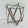 """John Vesey (1924-1992) Polished Aluminum and Glass """"Spool"""" Side Table"""