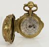 Michel Girard pocket watch having silvered dial with numbers and Roman numerals,  center engraved with two figures holding a crown, ...