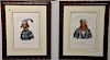Set of four hand colored Indian lithographs,  (1) J.T. Bowen, Yaha-Hajo, A Seminole Chief;  (2) J.T. Bowen, Foke-Luste-Hajo, A S...