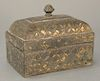 Archaic silver and gold inlaid box,  rectangle with dome top and finial.  height 4 inches, width 4 3/4 inches  Provenance:  Estate o...