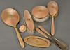14 karat gold eight piece enameled dresser set to include two brushes, mirror, covered crystal powder jar, comb, shoe horn, boot hoo...