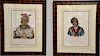 Set of four hand colored Indian lithographs, all published by F.W. Greenough, drawn, printed, and colored at L.T. Bowen's Lithograph...