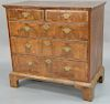 George II burlwood chest of two over three drawers, 18th century.  height 37 1/4 inches, width 36 3/4 inches, depth 21 1/4 inches