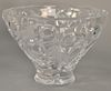 Large Lalique crystal bowl having scrolling vine and frosted bird design, marked on foot: Lalique France (chip on interior rim).  he...